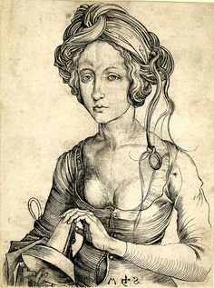 Martin Schongauer, A foolish Virgin, engraving, ca. 1469-1482,