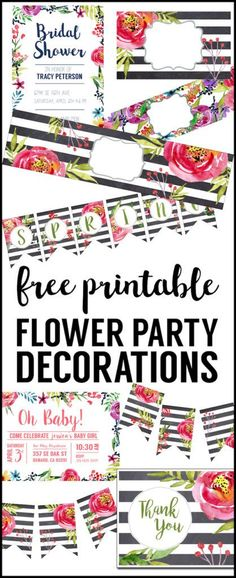 Flower Party Printables Free Printable Decorations Print this complete DIY decorations set for a floral baby shower birthday party bridal shower wedding spring garden party or Easter brunch # Party Printables, Printable Banner, Baby Shower Printables, Free Printables, Printable Flower, Printable Crafts, Printable Stickers, Printable Invitations, Ideas Party
