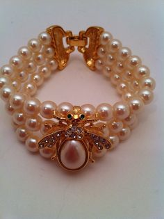 Faux Pearl and Bumble Bee bracelet by Deb at Etsy