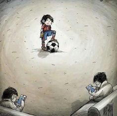 How kids play sports today. On their phones or in front of a tv