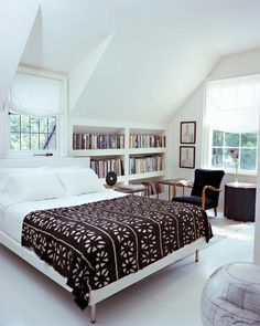 Bedroom design featuring built in bookcase   Betsy Brown Design