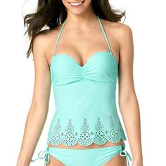Arizona Lasercut Bandeau Tankini Swim Top - Juniors - JCPenney