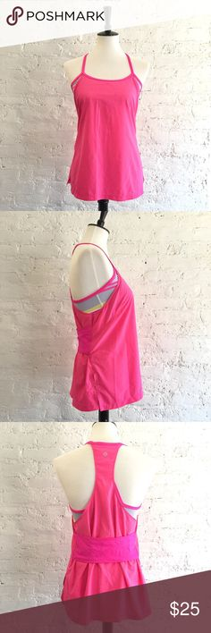 [Lululemon] Amped Tank in pink - Size: 8 - Condition: some spots on the front as pointed out. Not sure what they're from as I've only worn this top twice. Haven't tried to spot treat it - Color: pink, yellow, white, gray - Style: Lululemon Amped Tank. Comes with built-in bra but no cups - Extra notes: very flattering on  Bundling is fun, check out my other items! Home is smoke free. No trades, holds, modeling, or negotiations in comments. lululemon athletica Tops Tank Tops
