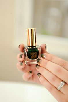 """""""Ombre nails are a great way to experiment with color for fall. Pairing this emerald-green with gold for a subtle, totally chic look."""""""