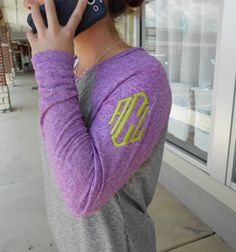 Raglan Tee Long Sleeve Monogram Font Shown DIAMOND on Etsy, $19.99