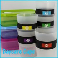 Daycare Cups:  Cups that Change Icons.  Assign each kid an color coded icon and they use that cup everyday.