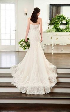 Wedding Dresses   Ornately Beaded Wedding Dress with Long Lace Train   Martina Liana