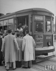1950 - Bonde para o atual bairro de Santo Amaro a partir do bairro do Brooklin.