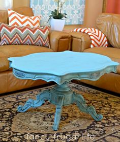 Lina of Fancy Frugal Life shares a lovely Before & After post showing how she refinished this coffee table using Provence Chalk Paint® decorative paint by Annie Sloan & Dark Wax!