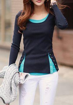 Casual Women's Scoop Neck Long Sleeve Faux Twinset Design T-Shirt