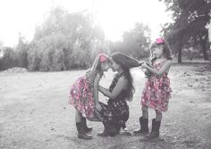 Twins with mommy!! So cute Cow girl boots, pink, flowers