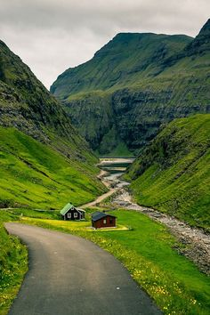Stunning green landscpae in the Faroe Islands, North Atlantic, Denmark.