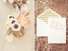 sparkly floral centerpieces, gold sparkly table linens, sparkly wedding decor, sparkly wedding ideas, chevron and gold wedding invitation Wedding Bells, Our Wedding, Dream Wedding, Sequin Wedding, Wedding 2017, Wedding Stuff, Wedding Stationary, Wedding Invitations, Future Mrs