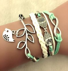 Cute Wrap Bracelet, Dangle Bird Bracelet, Cute Bird Owl Infinity Bracelet, Mint Green and White Bracelet