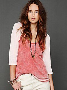 We The Free Long Sleeve Cotton Candy Burnout Top in clothes-shops-we-the-free