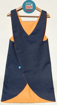 Denim Japanese Apron| Crossover back apron| waterproof craft apron