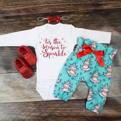 Girl's Christmas Outfit | 'Tis the Season to Sparkle' Top w/ Blue Christmas Tree High Waisted Pants | Complete Baby or Toddler Christmas Set