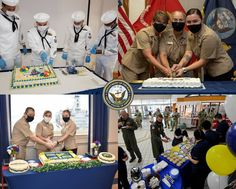 """Sailors celebrate the Navy's 245th Birthday celebration at several bases in the USA and Japan with decorated birthday cakes. The theme for this year, """"Victory at Sea,"""" closes the 75th anniversary commemoration of World War II, and also recognizes 245 years of warfighting excellence. Birthday Celebration, World War Ii, Victorious, Sailor, Navy, Celebrities, World War Two, Hale Navy, Celebs"""