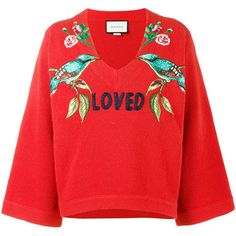 Gucci 'Loved Bird' Embroidered Top (148.415 RUB) ❤ liked on Polyvore featuring tops, red, embroidered top, fancy tops, v-neck tops, red bell sleeve top and print top
