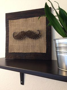 Brown Mustache on Burlap Nail and String Art by alimorriscreations