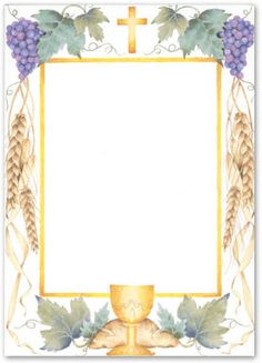 First Communion -- Our desktop/EZ-print invitation cards can easily be printed on your inkjet/laser printer or we can print for you. First Communion Decorations, First Communion Cards, Holy Communion Invitations, First Holy Communion, Page Borders Design, Première Communion, Paper Crafts Origami, Eucharist, Borders And Frames