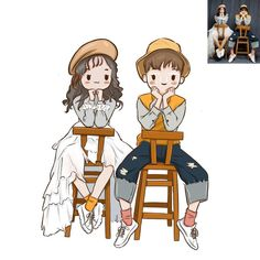 Custom cute cartoon portrait cute anime portrait   Etsy Cute Dog Drawing, Girl Drawing Sketches, Cute Couple Drawings, Cute Drawings, Kawaii Drawings, Cartoon Drawings, Baby Cartoon, Cute Cartoon, Photo To Cartoon