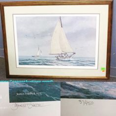 """John Morton Barber limited edition print titled """"Oyster Dredging Aboard Skipjack Lady Katie"""", signed in pencil and numbered 37/950; frame measures 29 x 38"""". Bids close Thurs, 9 Feb, from 11am ET. http://bid.cannonsauctions.com/cgi-bin/mnlist.cgi?redbird111/300"""