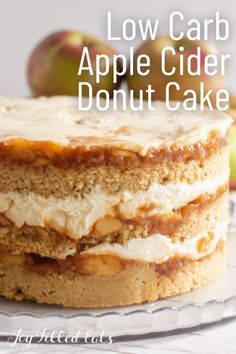 Sweet browned butter cinnamon cake layered with fresh apple compote and cream cheese frosting? This Apple Cider Donut Cake is the perfect dessert for autumn. It will remind you of those farm-fresh donuts coated in cinnamon sugar and warm from the fryer. It is low carb, sugar-free, gluten-free, and keto-friendly.