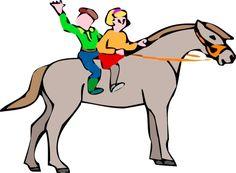 Les cliparts - Un cheval monté par deux enfants