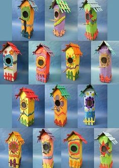 Vogelhuisjes van melkpakken **idea to remember--use milk cartons in the spring to make these birdhouses:) Kids Crafts, Summer Crafts, Projects For Kids, Diy For Kids, Art Projects, Arts And Crafts, Paper Crafts, Spring Art, Recycled Crafts