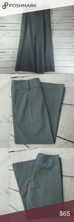 Alice + Olivia Wool Blend Pants, 8 Light weight Wool and Polyester blend Wide Leg trousers by Alice + Olivia.  Size 8. Medium gray. Waist measures approximately 17 inches with garment lying flat.  Inseam measures approximately 30.5 inches.   Pants have been hemmed, as original inseam was approximately 32.5 inches.  Excellent pre-owned condition. Alice & Olivia Pants Trousers