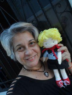 Jeanzinho, boneco de pano feito pela artesã Elza Keiko .. Estou eu aqui, porque dei uma ajudinha nesse parto para que o Pequeno Jean visse a luz no mundo dos quadrinhos;