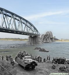 DUKWs transport supplies across the River Waal at Nijmegen, below the railway bridge whose central span was broken by German frogmen using floating mines, 30 September Then image: Imperial Wa… Operation Market Garden, Japan, Military History, Us Army, World War Two, Ghosts, Trauma, Wwii, Bridge
