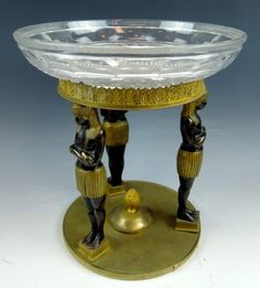 LATE 19th C BRONZE EGYPTIAN REVIVAL COMPOTE, measures 9-1/4""