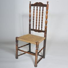 "19th century Folk Art Side Chair with unusual pattern of rush seat  Height: 41"" / 104 cms"