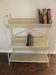 Vintage Metal Mesh Library 3 Tier Book Shelf Book Rack by marketsquareus on Etsy
