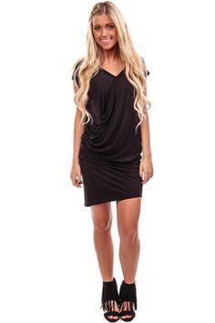 #GlamourousDress-Black Surplice Front Dress
