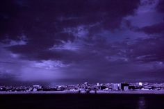 Infrared photograph of Spring weather sweeping across Liverpool, Everton, Bootle, Stanley Docks.