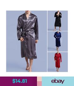 76cb367392 Sleepwear  amp  Robes Mens Silk Satin Robes Bathrobe Nightgown Sleepwear  Pajamas Bathing Homewear Wrap