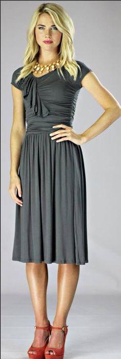 Ellie Dress - Gray-Ellie Dress in Gray, Gray dress, modest dresses