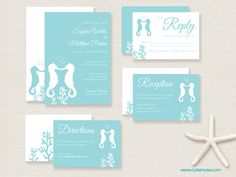Beach Seahorse Wedding Invitation Suite By Cutemusestationery