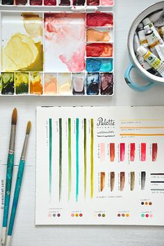 Evajuliet palette In The Studio of Eva Juliet | Pretty Paintings and Illustrations from Mon Carnet Blog