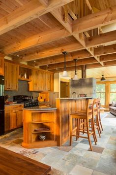 Like the kitchen - layout and woodwork. Trout Fishing Cabin by Dale Mulfinger of SALA Architects 004