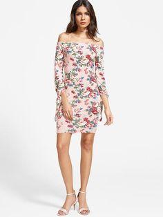 Pink Floral Print Tie Sleeve Bodycon Dress