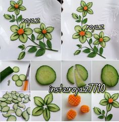 Easy Food Art, Amazing Food Art, Creative Food Art, Fruits Decoration, Vegetable Decoration, Veggie Art, Fruit And Vegetable Carving, Garnishing, Food Garnishes