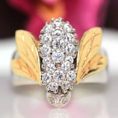 14k White & Yellow 2 tone gold Natural VS-1 Diamond Bee Fly Cluster ring by crystalanchor on Etsy
