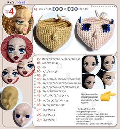 Crochet Coaster Pattern, Crochet Doll Pattern, Crochet Motif, Crochet Dolls, Crochet Baby, Crochet Patterns, Doll Head, Doll Face, Amigurumi Doll