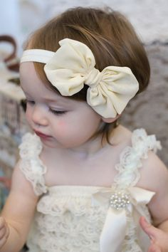 Ivory++Chiffon+hair+bow+Headband+Shabby+Chic+by+BabyBloomzBoutique,+$7.95