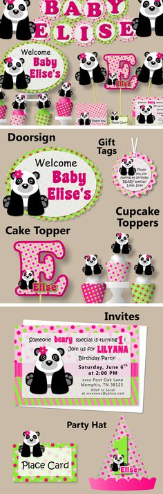 Pink Girl Panda Birthday Party Decoration or Baby Shower - Party Package, Invitation, Banner, Party Hat #bcpaperdesigns