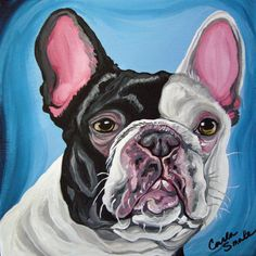 Pied French Bulldog Original Dog Art Canvas Portrait - Carla Smale-Bobbysbears #realistic